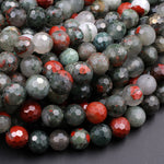 "Faceted African Bloodstone 6mm 8mm 10mm Round Beads Natural Red Grey Green Polished Gemstone Beads 16"" Strand"