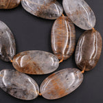 "Rare Natural Cacoxenite in Quartz Beads Magnificent Large Long Oval Focal Pendant Center Drilled Gemstone 28"" Strand"