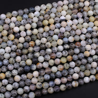 "Natural African Dendritic Opal 6mm 8mm Round Beads Creamy White Beige Taupe Opal Gemstone 16"" Strand"