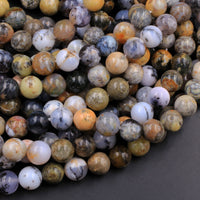 "Rare Amethyst Sage Chalcedony 8mm 10mm Round Beads Dendritic Chalcedony Gemstone From Oregon 16"" Strand"