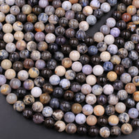 "Natural African Dendritic Opal 10mm Round Beads Smoky Grey Beige Creamy Taupe Sand Brown Color Opal Gemstone 16"" Strand"