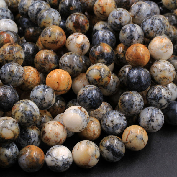 "Natural African Dendritic Opal 6mm 8mm 10mm Round Beads Smoky Grey Sand Brown Opal Gemstone 16"" Strand"