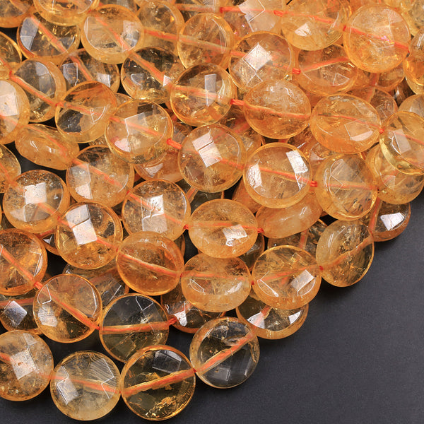 "Natural Citrine Faceted Coin 12mm 14mm 16mm Beads High Polish Puffy Coin Round Gemmy Orange Yellow Gemstone Beads 16"" Strand"