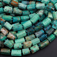 "Natural Chrysocolla Rectangle Nugget Hand Cut Faceted Tube Blue Green Gemstone Nugget Freeform Beads 16"" Strand"