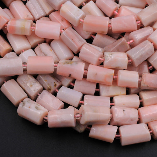 "Natural Peruvian Pink Opal Faceted Hexagon Cylinder Tube Nugget Beads 16"" Strand"
