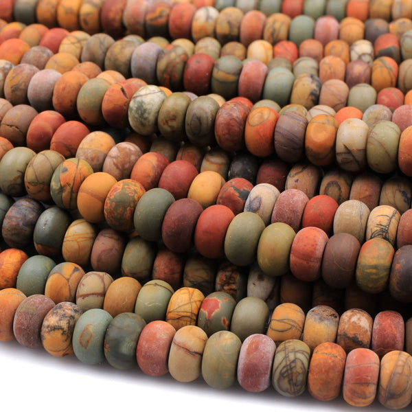 "Red Creek Jasper Matte Rondelle Beads 6mm 8mm Red Green Yellow Brown Natural Cherry Creek Multi Color Picasso Jasper 16"" Strand"