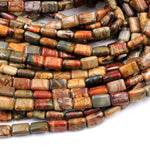 "Red Creek Jasper Rectangle Beads 12x8mm Earthy Red Green Yellow Brown Natural Cherry Creek Multi Color Multicolor Picasso Jasper 16"" Strand"