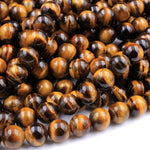 "Natural Tiger Eye 6mm 8mm Round Beads High Quality Smooth Polished 16"" Strand"