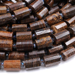 "Natural Bronzite Faceted Tube Cylinder Barrel 14x10mm Beads High Quality 16"" Strand"