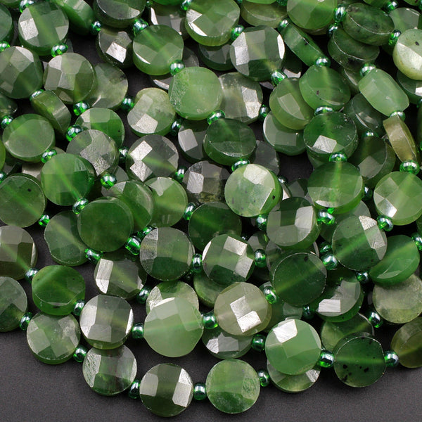 "Natural Canadian Green Jade Faceted Coin Beads Flat Disc Laser Diamond Cut Real Genuine Green Jade Sharp Facets Gemstone 16"" Strand"