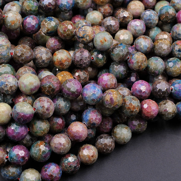 "Faceted Natural Ruby Fuchsite 6mm 8mm 10mm Round Beads Genuine Red Ruby in Green Blue Fuchsite Gemstone 16"" Strand"