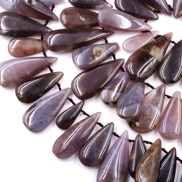 "Natural Amethyst Sage Chalcedony Teardrop Focal Pendant Beads Stunning Deep Violet Purple Gemstone From Oregon 16"" Strand"