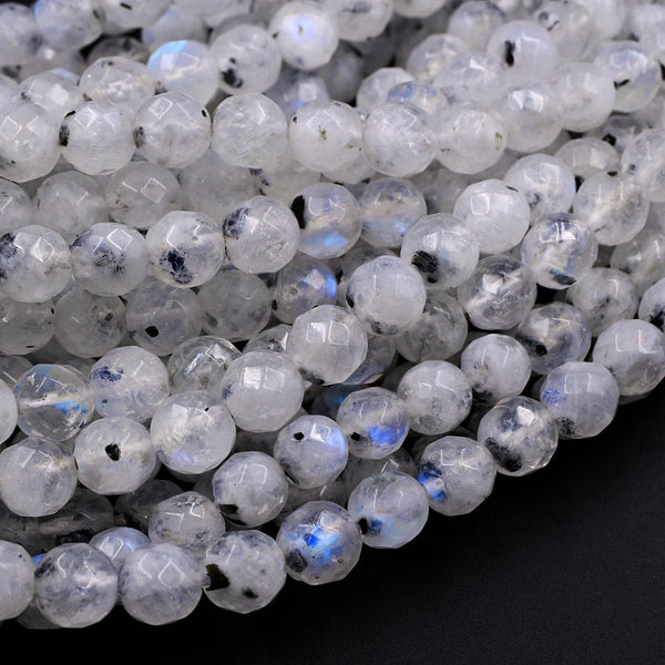 "Faceted Natural Blue Rainbow Moonstone 6mm Round Beads Blue Flash Black Moonstone 16"" Strand"