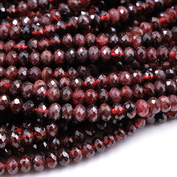 "Faceted Natural Red Garnet Rondelle Beads 5mm Red Sparkle Diamond Cut Gemstone 16"" Strand"