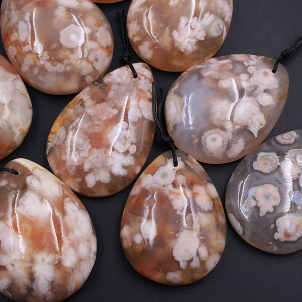 AAA Large Natural Cherry Blossom Agate Teardrop Pendant Wholesale Focal Bead