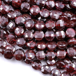 "AAA Natural Red Garnet Faceted Coin 8mm Beads High Quality Laser Diamond Cut Gemstone Disc 16"" Strand"