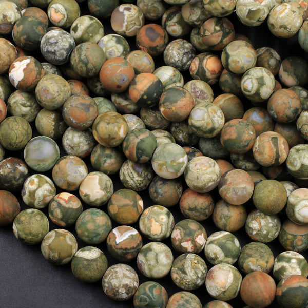 "Matte Natural Rainforest Rhyolite Jasper Round 6mm 8mm Green Brown Orange Brown Beads 16"" Strand"