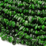 "Natural Green Chrome Diopside Freeform Irregular Small Chip Nugget Beads Real Genuine Chrome Diopside Gemstone 16"" Strand"