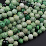 "Natural Green Grossular Garnet Round 6mm 8mm Green Beads Full 16"" Strand"