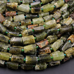 "Matte Natural Green Garnet Rough Raw Tube Rectangle Barrel Cylinder Beads Nuggets Polished Real Genuine Green Gemstone 16"" Strand"