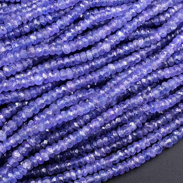 "AAA Natural Tanzanite Faceted Rondelle Beads 3mm 4mm Real Genuine Tanzanite Purple Blue Gemstone 16"" Strand"