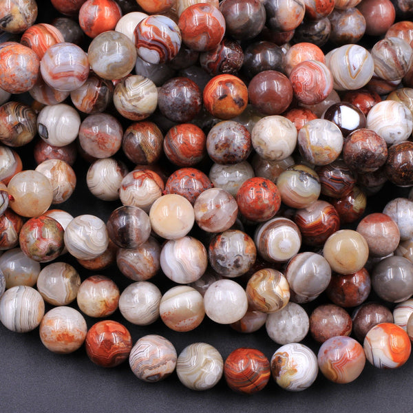 "Natural Laguna Lace Agate 4mm 6mm 8mm 10mm Round Red Orange Cream Grey Beads From Mexico 16"" Strand"