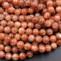 "Fiery Natural Sunstone Round Beads 6mm 8mm 10mm A Grade Feldspar Golden Glitters Orange Red Gemstone 16"" Strand"