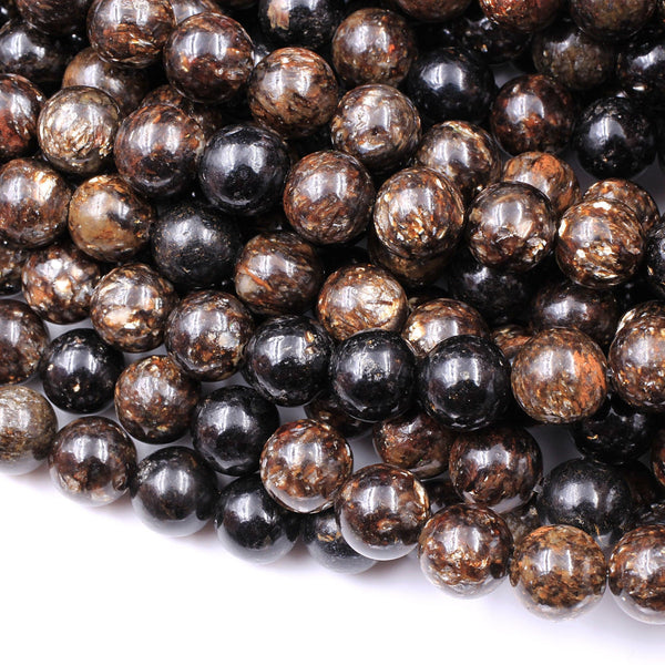 "Natural Biotite Mica 4mm 6mm 8mm 10mm 12mm Round Beads Sparkling Mica in Brown Black Biotite Phlogopite 16"" Strand"
