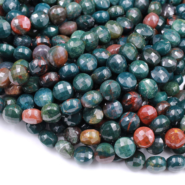 "Real Genuine Bloodstone 8mm Faceted Coin Beads Superior Quality 100% Natural Bloodstone Full 16"" Strand"