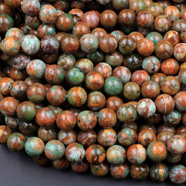 "Natural African Green Opal 6mm 8mm Round Beads High Quality Green Brown Gemstone Opal Beads 16"" Strand"