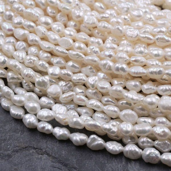 "Small Rice Seed Pearls Genuine Freshwater White Pearl 4mm 5mm Irregular Oval Nugget Shape Pearl 16"" Strand"