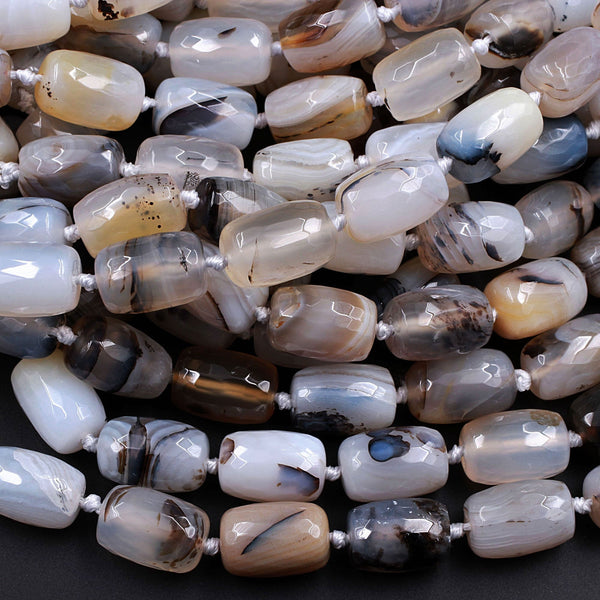 "Natural Montana Agate Beads Highly Polished Faceted Barrel Drum Nuggets Amazing Veins Bands High Quality Brown Black White Bead 16"" Strand"