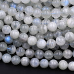 "Rare! Natural Siberian Moonstone 6mm 8mm 10mm 12mm Round Beads Blue Flashes Exclusively From Us 16"" Strand"