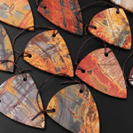 Large 2 Hole Pendant Natural Red Creek Jasper Drilled Curved Triangle Shield Shape Flat Slice Focal Bead MultiColor Picasso Jasper