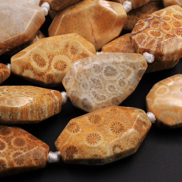 "Large Faceted Natural Golden Yellow Indonesian Fossil Coral Beads Freeform Nugget Focal Pendant Beads 16"" Strand"