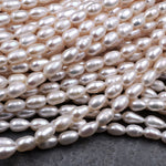 "Genuine Freshwater White Pearl Oval Rice Shape 8mm Iridescent High Luster 16"" Strand"