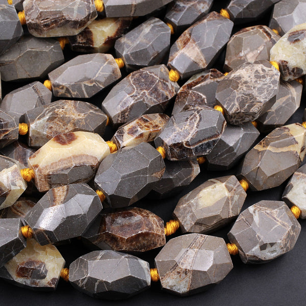 "Natural Utah Septarian Beads Large Chunky Faceted Tube Barrel Nugget Irregular Freeform Nodule Yellow Brown Gray Jasper 16"" Strand"