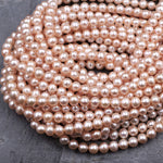 "Genuine Peach Pink Freshwater Pearl 6mm Iridescent Metallic Pink Peach High Luster 16"" Strand"