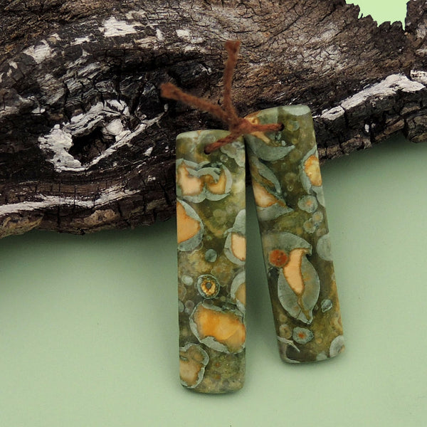 Drilled Gemstone Earring Pair Natural Rainforest Rhyolite Jasper Matched Symmetrical Rectangle Earring Beads