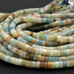 "Natural Amazonite Heishi 6mm Beads Multicolor Amazonite Blue Green Red Yellow Black Brown Rondelle 16"" Strand"