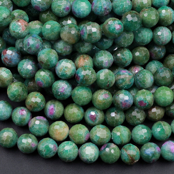 "Natural Ruby Fuchsite Large Faceted Round 6mm 8mm 10mm 12mm Red Ruby Green Fuchsite Gemstone Fuschite 16"" Strand"