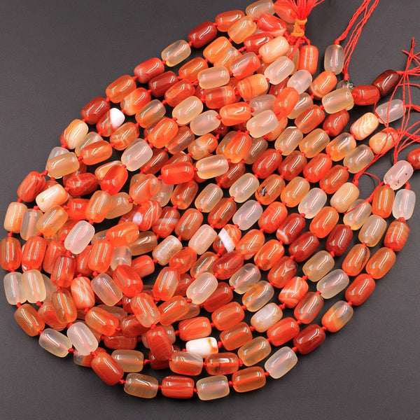 "Natural Carnelian Tube Drum Barrel Cylinder Beads 14x10mm Highly Polished Finish Natural Red Orange Gemstone 16"" Strand"