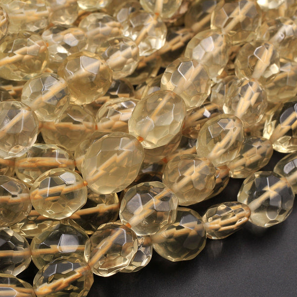 "Natural Lemon Quartz Faceted Oval Puffy Egg Nugget Beads Yellow Gemstone Beads 16"" Strand"