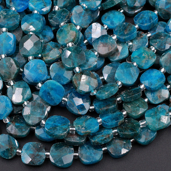 "Natural Blue Apatite Faceted Square Cushion Pillow Puffy Nugget Beads Teal Blue Gemstone Designer Beads Unique Gem Cut 16"" Strand"