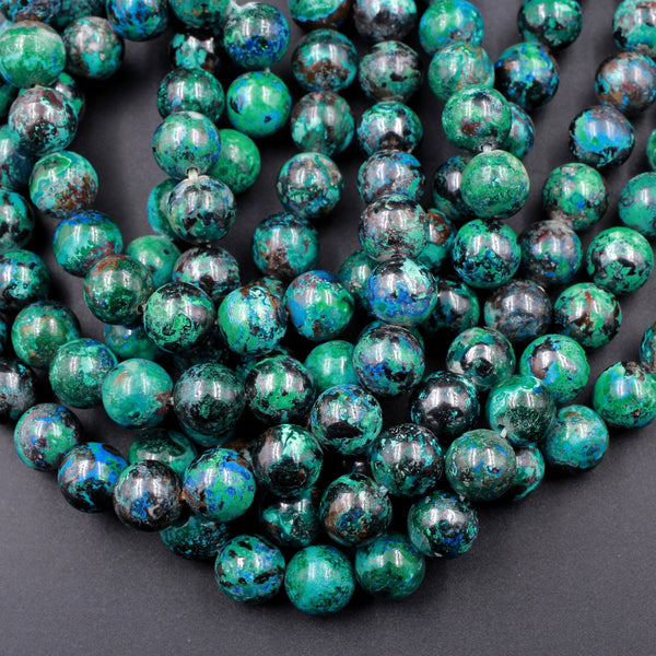 "Genuine SHATTUCKITE 8mm Round Beads AAA Grade Rare Natural Azurite Chrysocolla Malachite Gemstone From Arizona 16"" Strand"