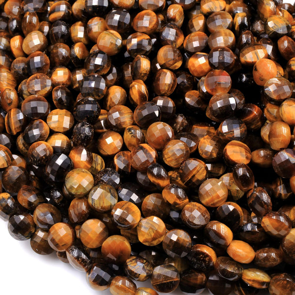 "Micro Faceted Natural Goden Brown Tiger Eye 6mm Coin Beads Flat Disc Gemstone 16"" Strand"