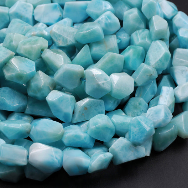 "AAA Natural Blue Larimar Faceted Nugget Beads Hand Cut Freeform Real Genuine Larimar Gemstone 16"" Strand"