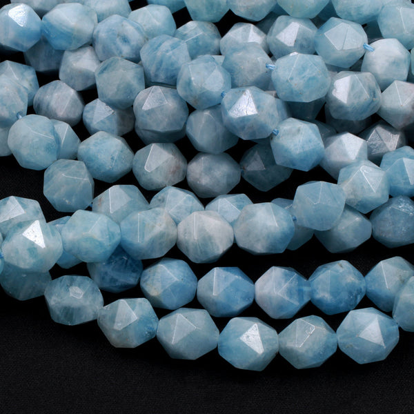 "Geometric Cut Diamond Star Cut Genuine 100% Natural Aquamarine Large Faceted 12mm Round Beads Nugget Blue Gemstone 16"" Strand"