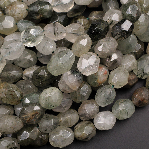 "Natural Phantom Quartz Freeform Faceted Barrel Egg Drum Oval Nugget Beads Green Rutile Clear Crystal Quartz Rutile 16"" Strand"
