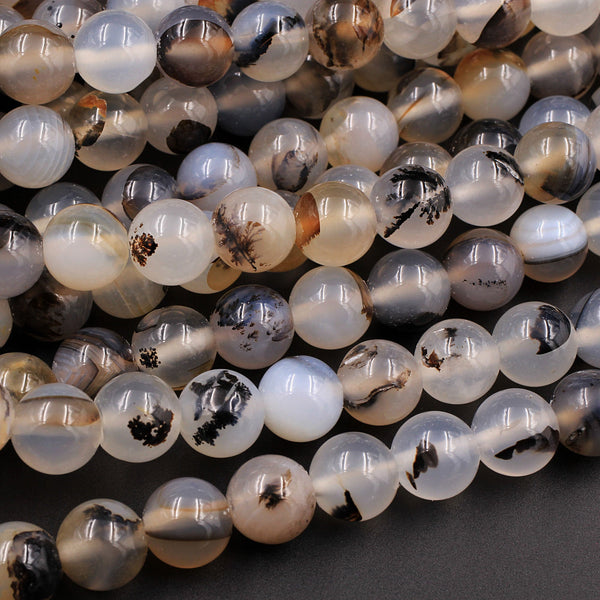 "AAA Natural Montana Agate 8mm Round Beads Amazing Dendritic Pattern Unusual Brown Black White Beads 16"" Strand"